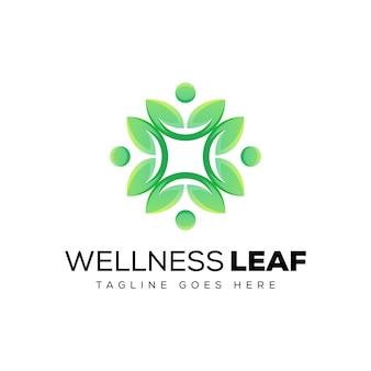 Logo de feuille de bien-être, modèle de conception de logo de feuille humaine
