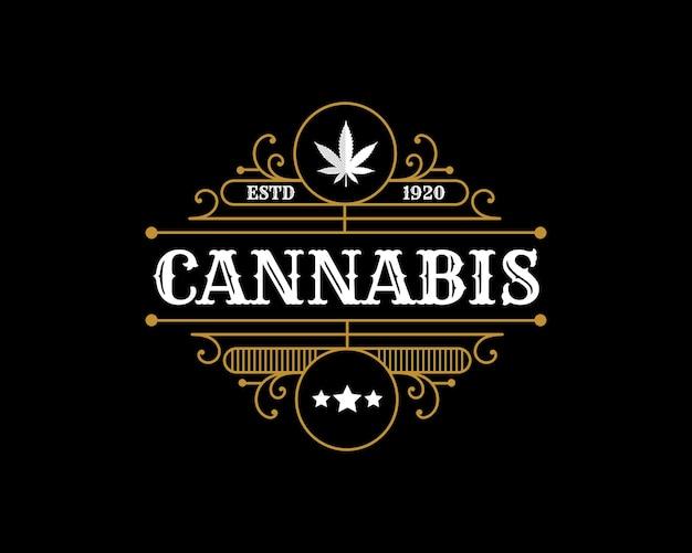 Logo De Feuille De Cannabis Vintage Royal De Luxe Antique Avec Cadre Ornemental Décoratif Pour La Marque D'huile De Chanvre Vecteur Premium