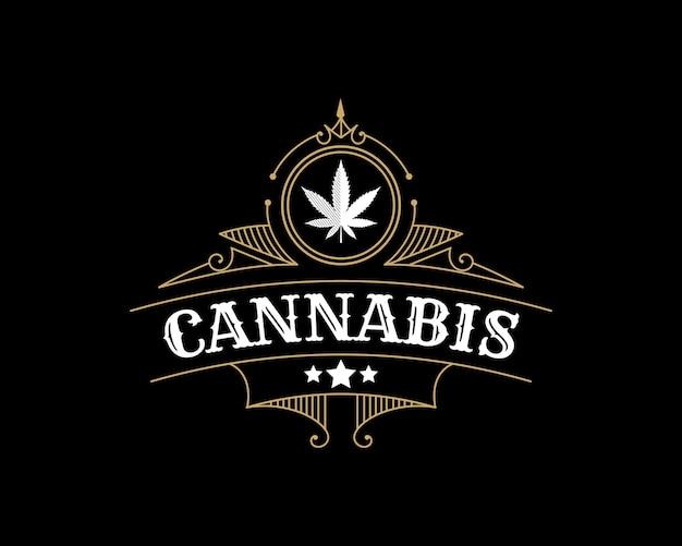 Logo de feuille de cannabis vintage royal de luxe antique avec cadre ornemental décoratif pour la marque d'huile de chanvre