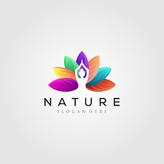 Logo de feuille colorée avec silhouette d'yoga