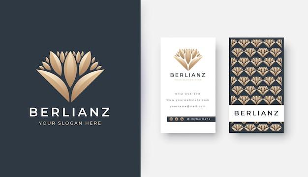Logo de feuille de diamant de luxe avec carte de visite potrait