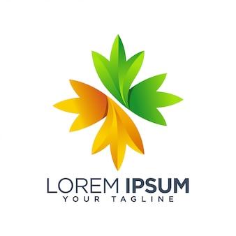 Logo de feuille florale colorée