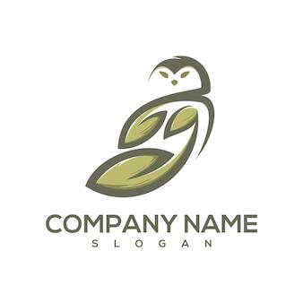 Logo de feuille de hibou