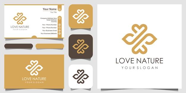 Logo de feuille et d'huile élégant minimaliste avec style d'art en ligne. logo pour la beauté, les cosmétiques, le yoga et le spa. logo et carte de visite.