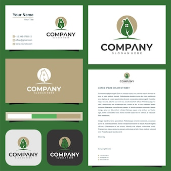 Logo feuille immobilier et carte de visite