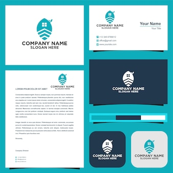 Logo de feuille d'immobilier et carte de visite
