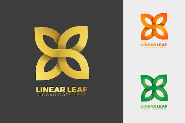 Logo de feuille linéaire or