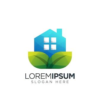 Logo De Feuille De Maison Vecteur Premium