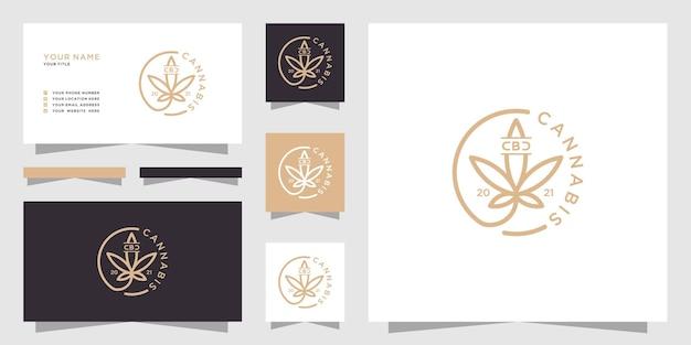 Logo de feuille de marijuana vintage et carte de visite