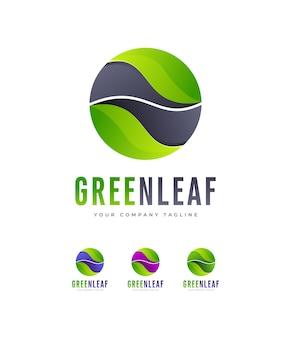 Logo de feuille nature ronde