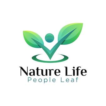 Logo de feuille de personnes de la vie naturelle, succès du régime alimentaire pour le modèle de logo de nourriture de légumes