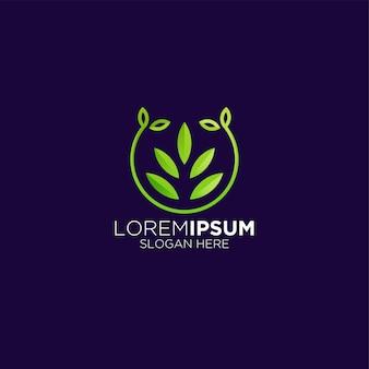Logo de feuille de plante de luxe