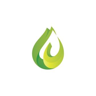 Logo de feuille verte et de gouttelettes