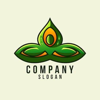 Logo de feuille de yoga