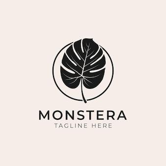Logo de feuilles de plantes tropicales. monstera laisse la création de logo. illustrations vectorielles.