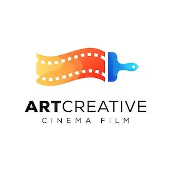 Logo de film de cinéma créatif, logo de studio d'équipe créative, peinture avec concept de logo vidéo rouleau