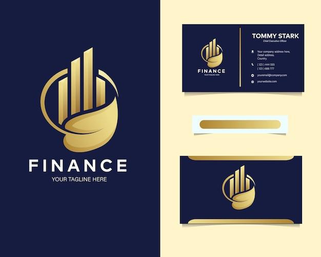 Logo de finance de luxe premium avec carte de visite de papeterie