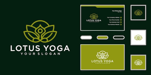 Logo de fitness yoga et lotus et inspiration de carte de visite