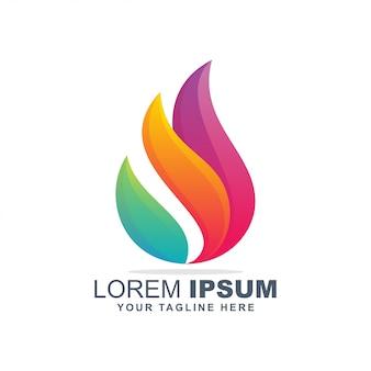 Logo de flamme colorée