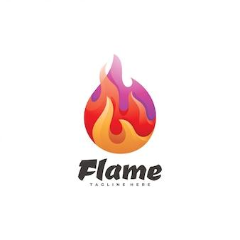 Logo de flamme de feu de couleur dégradé moderne