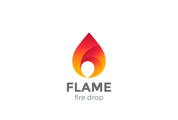 Logo de flamme de feu isolé sur blanc