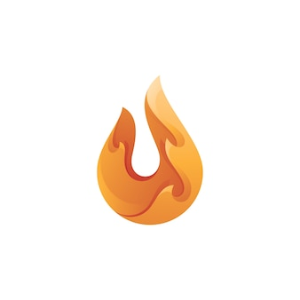Logo de flamme de feu moderne abstrait