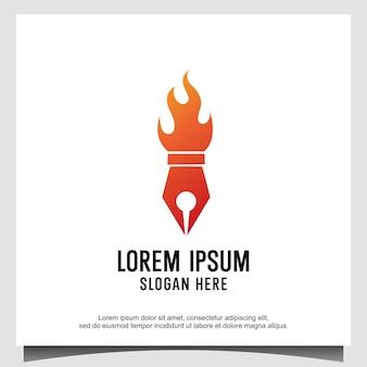 Logo de flamme de feu de torche de stylo