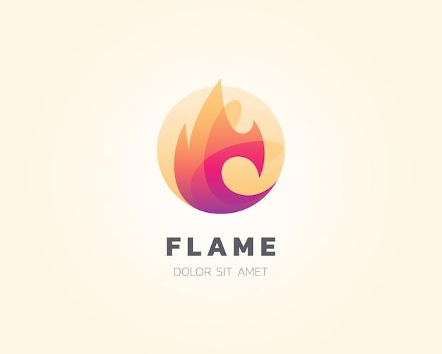 Logo de la flamme. icône du logo feu flamme de mélange simple