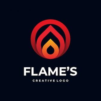 Logo de flamme linéaire moderne