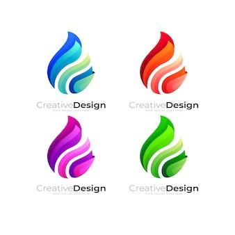 Logo de flamme et modèle de conception colorée, définir la couleur