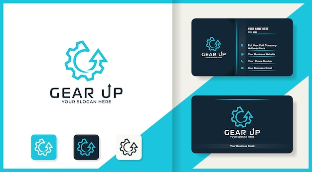 Logo de flèche d'engrenage de ligne simple et conception de carte de visite