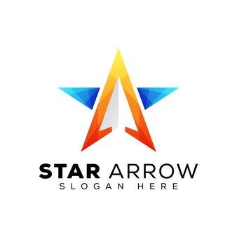 Logo de flèche étoile moderne, modèle de logo tendance étoile