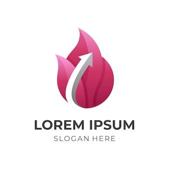 Logo de flèche de feu, feu et flèche, logo combiné avec style de couleur rouge 3d