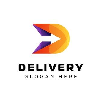 Logo de flèche lettre d, modèle de vecteur de logo de flèche de livraison