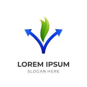 Logo de la flèche nature v, lettre v, flèche et feuille, logo combiné avec un style de couleur vert et bleu 3d