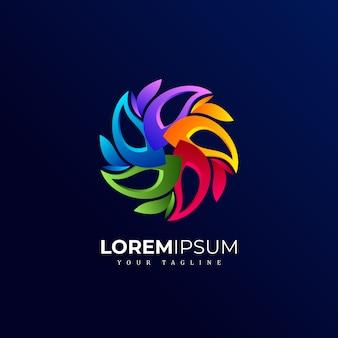 Logo de fleur abstrait cercle