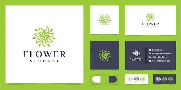 Logo de fleur abstraite et carte de visite