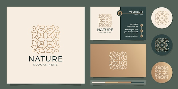 Logo de fleur abstraite dessiné à la main design féminin luxe nature ligne art style élément logo icône et modèle de carte de visite vecteur premium