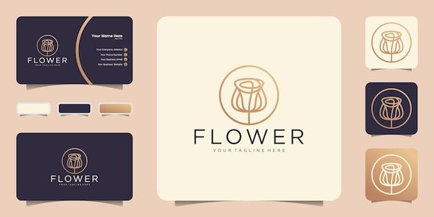 Logo de fleur abstraite minimaliste dans le style d'art en ligne et inspiration carte de visite