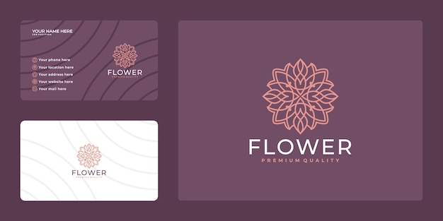 Logo de fleur de beauté féminine. design de luxe et carte de visite