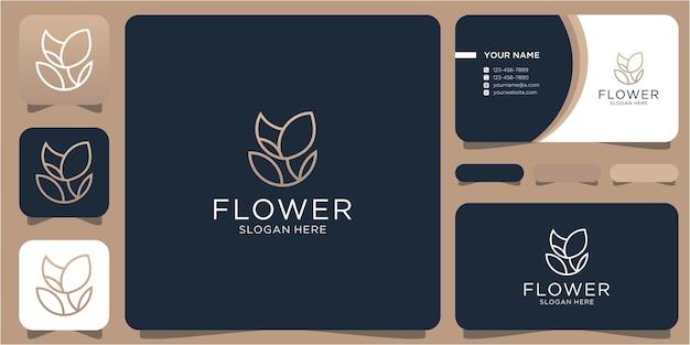 Logo de fleur de beauté minimaliste avec logo de style de ligne de conception de forme de cadre créatif et carte de visite
