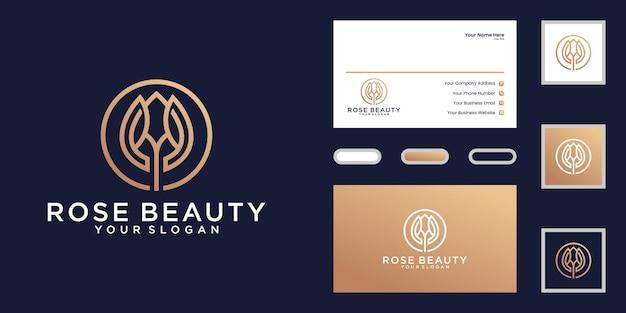 Logo de fleur de beauté avec style de dessin au trait et logo en cercle et conception de carte de visite