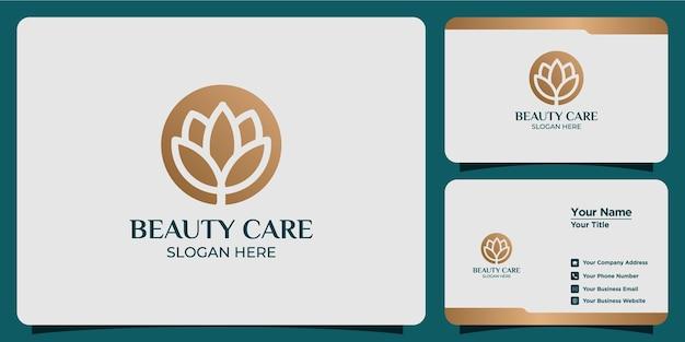 Logo de fleur de beauté de style de ligne minimaliste sertie de marque de carte de visite