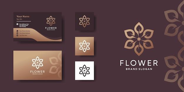 Logo de fleur avec concept créatif et conception de carte de visite