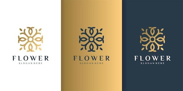 Logo de fleur avec concept de luxe doré