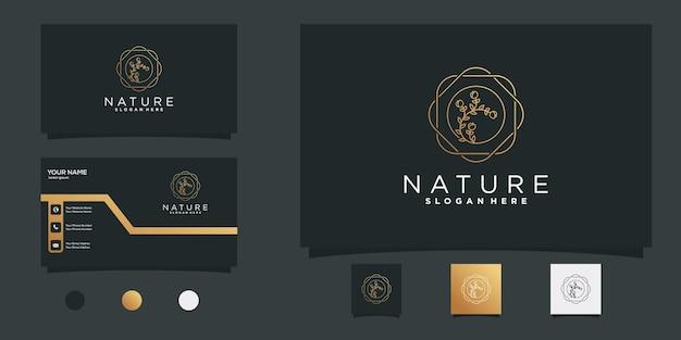 Logo de la fleur avec le concept moderne de l'art de la ligne circulaire et la conception de la carte de visite vecteur premium