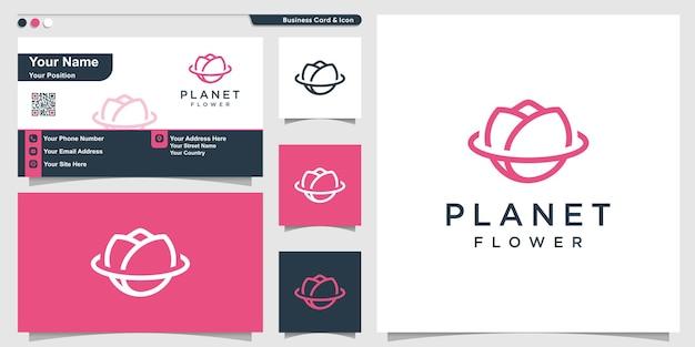 Logo de fleur avec concept de planète d'art en ligne et conception de carte de visite vecteur premium