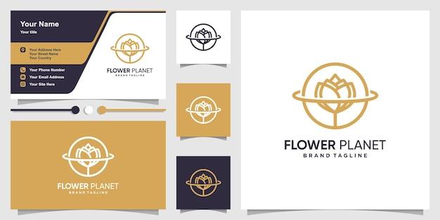 Logo de fleur avec le concept de planète d'art en ligne vecteur premium