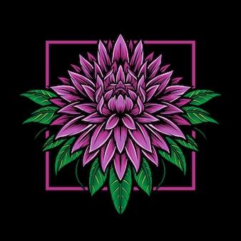 Logo de fleur de dahlia violet