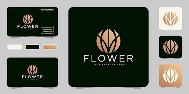 Logo de fleur épanouie moderne dans la conception de logo de couleur or et carte de visite